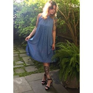 1970's Blue & White Polka Dot Swing Dress